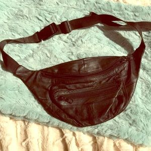 Black Leather Bum Bag In Perfect Condition